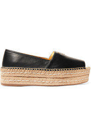 Leather platform espadrilles