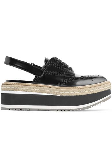 Leather platform slingback brogues