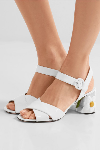 Prada Patent Leather Embellished Sandals largest supplier sale online BBoKX