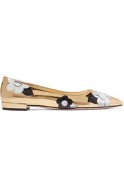 Appliquéd mirrored and patent-leather point-toe flats