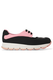 Cutout leather-trimmed neoprene sneakers