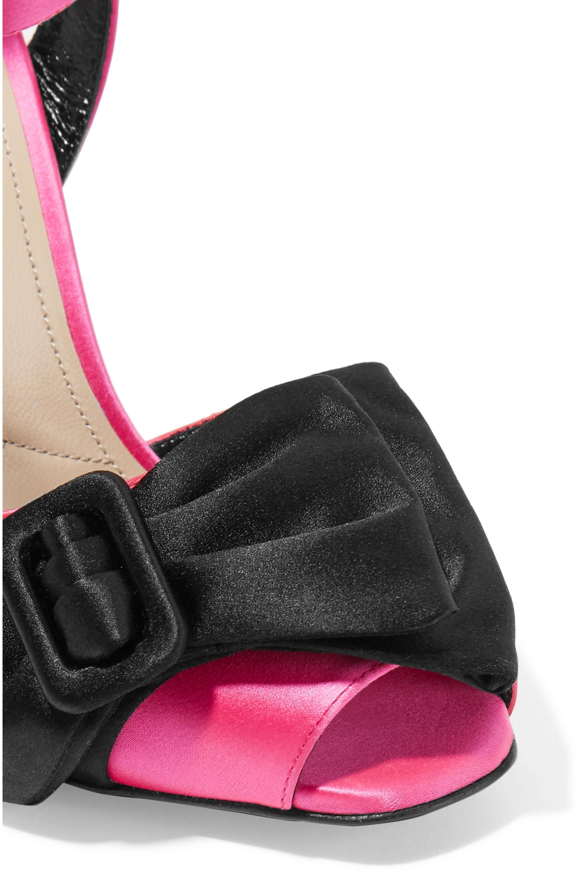 Prada 110 bow-embellished satin wedge sandals