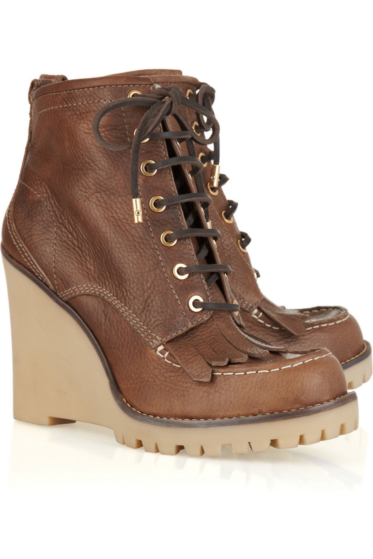 Hellbraun Howard leather wedge ankle