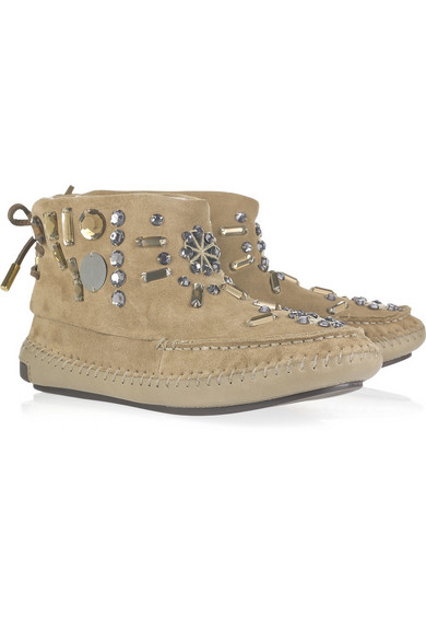 a783981acbf7 Tory Burch. Embellished suede moccasin boots