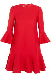 Valentino Ruffle-trimmed wool and silk-blend mini dress