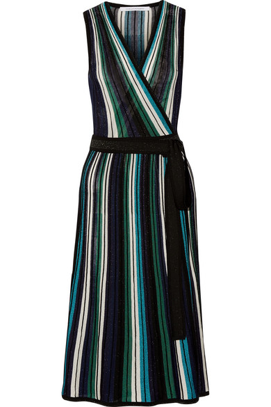Diane von Furstenberg - Cadenza Metallic Stretch-knit Wrap Dress - Blue