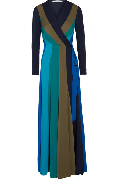 Diane von Furstenberg - Penelope Paneled Stretch-silk Wrap Maxi Dress - Blue