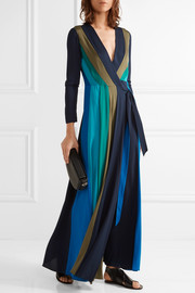 Diane von Furstenberg Penelope paneled stretch-silk wrap maxi dress