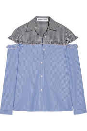 Mercury cutout gingham-paneled striped cotton shirt