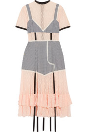 Accord paneled gingham stretch-cotton and lace dress