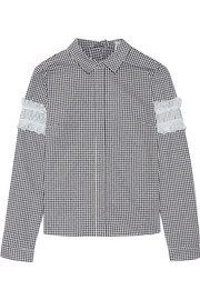 Sandy Liang Disco lace-embellished gingham cotton-blend top