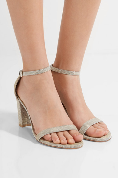 NearlyNude textured lamé sandals