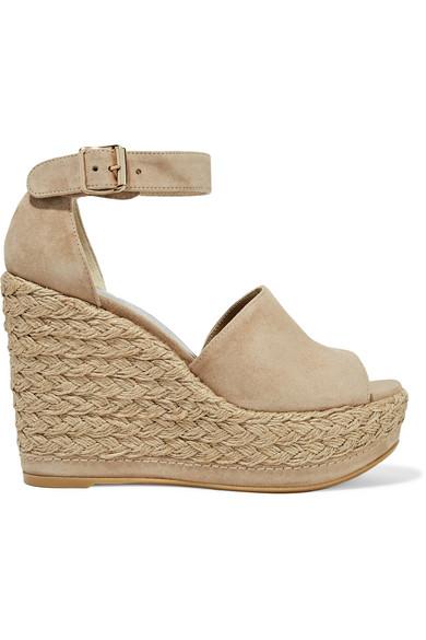 stuart weitzman female stuart weitzman sohogal suede espadrille wedge sandals beige
