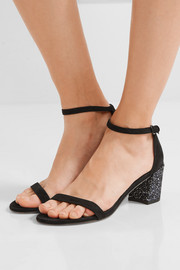 Simple glittered suede sandals