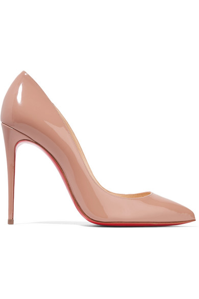 christian louboutin female christian louboutin pigalle follies 100 patentleather pumps beige