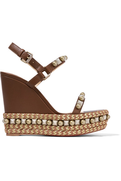 christian louboutin female christian louboutin cataconico 120 embellished leather wedge sandals brown