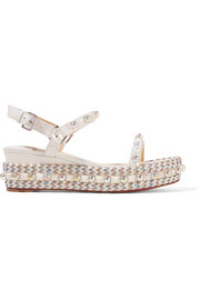 Christian Louboutin Cataconico 60 embellished leather wedge sandals
