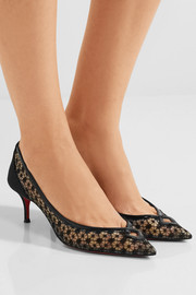Christian Louboutin Neomid 55 embroidered mesh and leather pumps