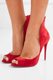 Pijonina scalloped suede pumps
