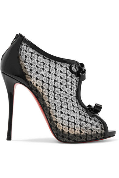 Christian Louboutin Leathers EMPIRALTA 120 BOW-EMBELLISHED EMBROIDERED MESH SANDALS