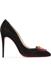 Christian Louboutin Coralta Mia 100 embellished glittered canvas pumps