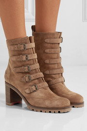 Christian Louboutin Who Walks buckled suede ankle boots