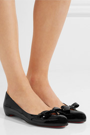 Christian Louboutin Vinodo bow-embellished patent-leather ballet flats