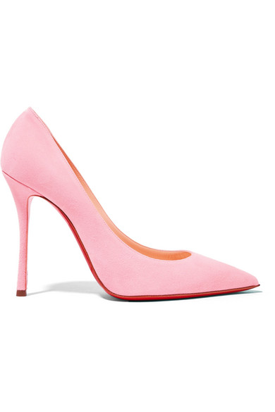 christian louboutin female christian louboutin decoltish 100 suede pumps pastel pink