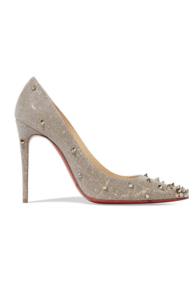 christian louboutin female christian louboutin degraspike 100 spiked canvas pumps silver