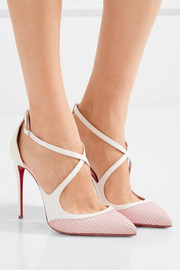 Crissos suede-trimmed fishnet and patent-leather pumps