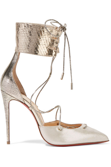 christian louboutin female christian louboutin corsankle 100 metallic leather and lame pumps silver