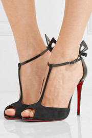 Christian Louboutin Aribak 100 bow-embellished leather and suede T-bar sandals