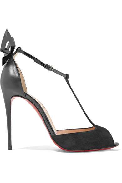christian louboutin female christian louboutin aribak 100 bowembellished leather and suede tbar sandals black