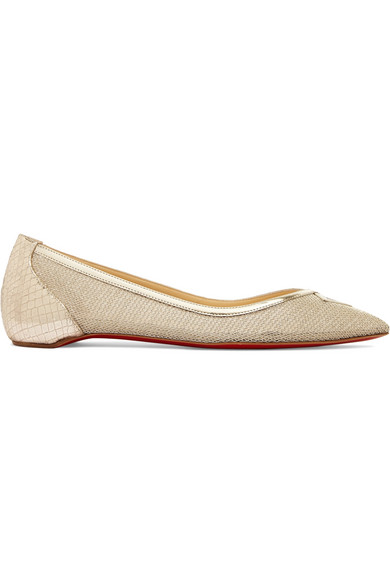 Louboutin Neoflat Flat Shoes With A Pointed Cap Mesh And Textured Leather In A Metallic Finish