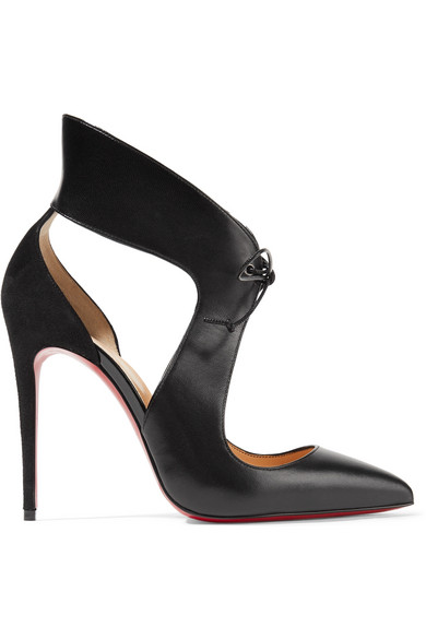 christian louboutin female christian louboutin ferme rouge cutout leather and suede pumps black