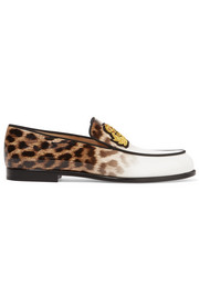 Laperouza appliquéd leopard-print patent-leather loafers