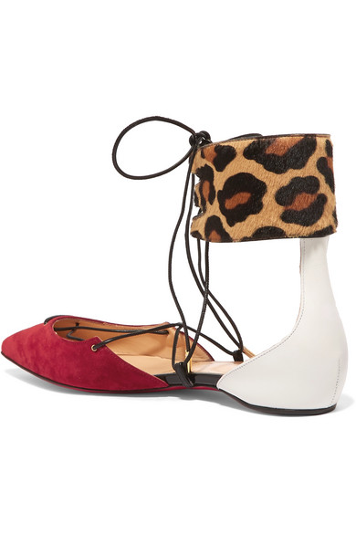 brand new eb840 2e9f1 Corsankle leopard-print calf hair, suede and leather point-toe flats