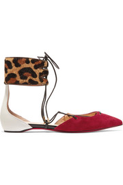 Christian Louboutin Corsankle leopard-print calf hair, suede and leather point-toe flats