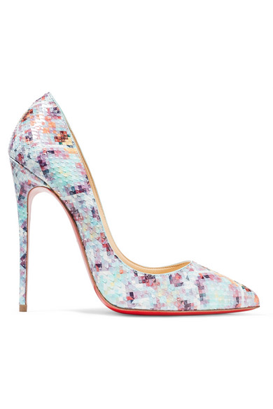 christian louboutin female christian louboutin pigalle follies 120 printed python pumps sky blue