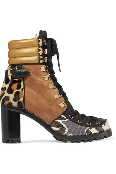 e5f9d5ed259 Who Runs suede, elaphe, metallic leather and calf hair ankle boots