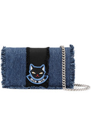 Miu Miu Delice mini appliquéd frayed denim shoulder bag