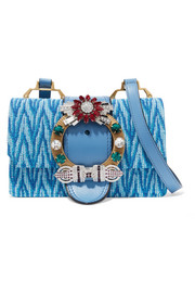 Miu Miu Madras embellished canvas and leather shoulder bag