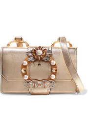 Embellished metallic textured-leather shoulder bag