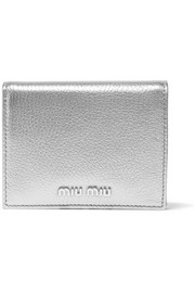 Miu Miu Metallic textured-leather cardholder