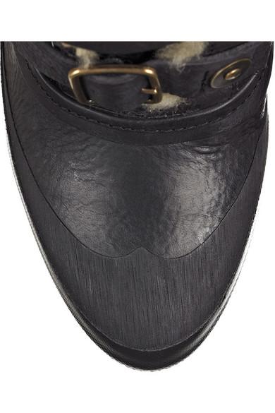 11472693c3 Burberry | Shearling-lined aviator boots | NET-A-PORTER.COM