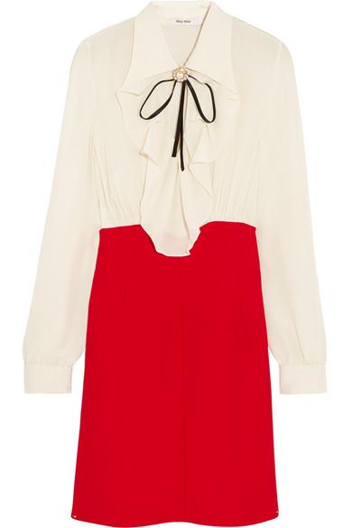 Silk and crêpe dress Miu Miu Shop Offer Cheap Online R1Z67