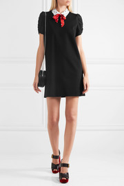 Miu Miu Printed silk crepe de chine-trimmed stretch-jersey mini dress