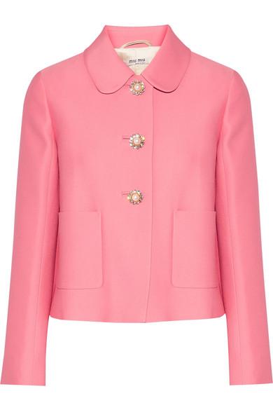 cf464ca744a Miu Miu | Cropped embellished crepe jacket | NET-A-PORTER.COM