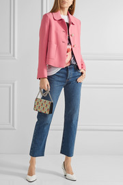Miu Miu Cropped embellished crepe jacket