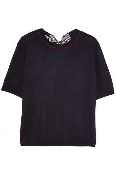 Miu Miu - Split-back Bow-embellished Wool Sweater - Navy